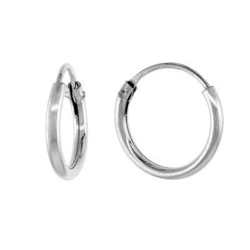 Worldjewels Sterling Silver Small Endless Hoop Earrings for cartilage, Nose and lips, 3/8 inch wide