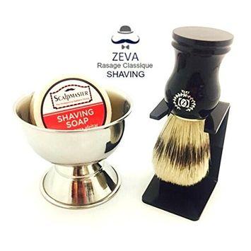 Shaving Brush Set with Drip Stand and Shaving Soap Bowl ZEVA