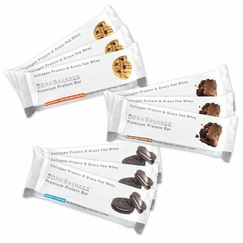 Bonk Breaker Collagen Protein Bar, Sample Pack, 1.8 Oz (9 Count), Gluten Free & All Natural Sweeteners