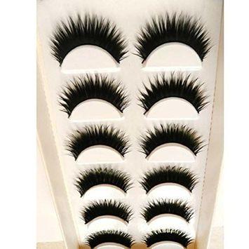 Lookatool 6 Pairs Handmade Natural Messy Cross Fake Eye Lash False Eyelashes Extension Makeup