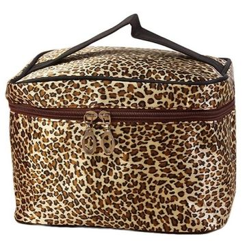 Clearance! Portable Large Toiletry Bag Cosmetic Travel Case Makeup Bag Organizer Storage with Mirror Leopard Series