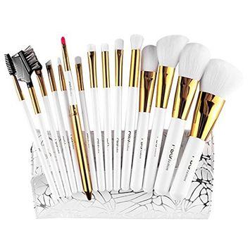 Eshion 15pcs Makeup Brushes Professional Cosmetic Powder Blush Contour Foundation Eyebrow Eyeshadow Make-up Brush Set