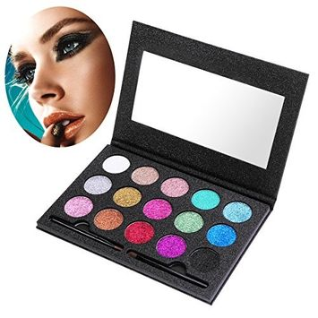 Glitter Eyeshadow, 15 Color Pressed Glitter Make-up Powder Eyeshadow Metallic Shimmer Eye Shadow Palette Highly Pigmented by ETEREAUTY [style 4]