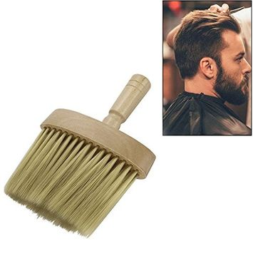 FTXJ Hair Stylist Barber Cleaning Tool, Men Neck Face Hair Cutting Beard Duster Wooden Brush