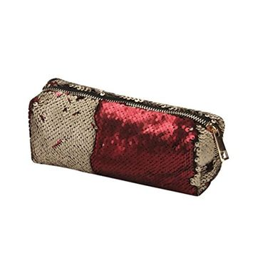 Hot Sale! Women Girls Fashion Reversible Sequins Cosmetic Bag Travel Makeup Bags Toiletry Cases Pencil Pouch (G