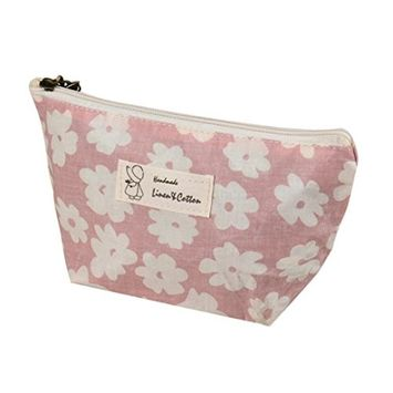 Cute Floral Print Women Girls Cosmetic Bag Toiletry Case Pouch Makeup Bags Organizer Coin Phone Purse (pink)