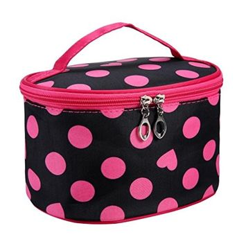 Clearance! Polka Dots Series Large Makeup Bag Organizer Portable Toiletry Bag Cosmetic Travel Case With Mirror
