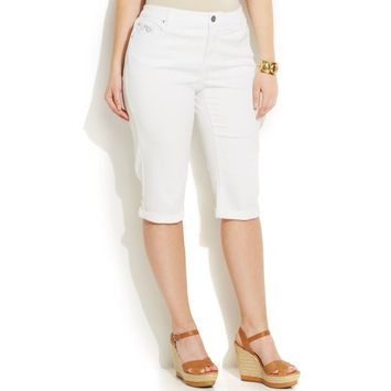 INC $79 NEW White Washed 5679 Embroidered Slim Tech Fit Short Pants Plus 24W