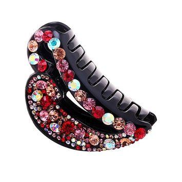 Fancyin Luxury 9cm Colorful Crystal Rhinestones Hair Claw Clip for Women