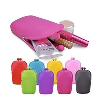 Ownsig Silicone Cosmetic Bag Jelly Color Can Used For Cellphone Coin Purses Bag Small Size Have Cute Shape Pink