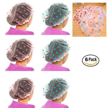 CiCy 6 Piece Vogue Lady Elastic Waterproof Plastic Shower Bathing Salon Hair Cap