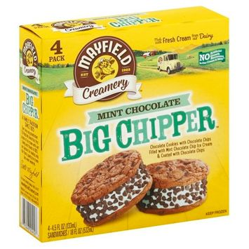 Mayfield Creamery Big Chipper Mint Chocolate Ice Cream Sandwich, 4 ct
