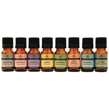 Gift Set Essential Oil Top 8-10ml (Spearmint, Lemon, Tea Tree, Sweet Orange, Grapefruit, Eucalyptus, Peppermint, Lavender) by Plantlife