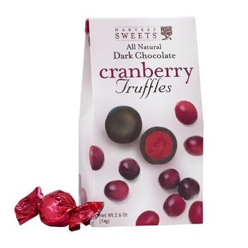 Harvest Sweets Dark Chocolate Truffles, Cranberry, 2.6-Ounce (Pack of 6)