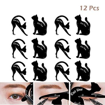 Cat Eyeliner Stencils Eyeshadow Plate, Matte PVC Matterial Smoky Eyeshadow Applicators Template Eyebrow Plate Eyeliner Wing Stamp, Professional Eye Shapes Draw Guide Tool for Easily Makeup(6 Pack)