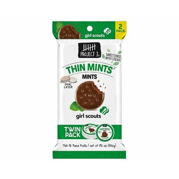 Project 7 (1) Twin Pack Bag Girl Scouts Thin Mints Flavored Mints - Sugar Free Sweetened With Stevia - 42 Pieces per Puck/84 Pieces Total 1.92 oz