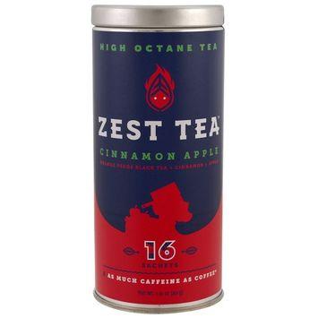 Zest Tea LLZ, High Octane Tea, Cinnamon Apple, 16 Sachets, 1.41 oz (40 g) [Flavor : Cinnamon Apple]