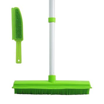 GLOYY Push Broom with Soft Rubber Bristles Squeegee Edge Use for Pet Cat Dog Hair Perfect for Cleaning Hardwood Vinyl Carpet