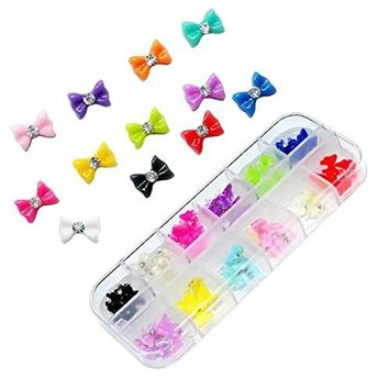 Brendacosmetic 60 Pcs 12 Colors Assorted Bowknot Tie 3D Nail Art Cellphone Tips Decoration Kits