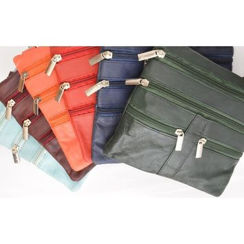 Genuine Soft Leather Cross Body Bag Purse Shoulder Bag 5 Pocket Organizer Micro Handbag Travel Wallet Many Colors Black