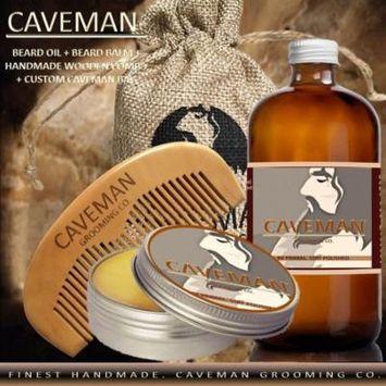 Hand Crafted Caveman Beard Oil Conditioner + Beard Balm + Custom Wood Comb + Custom Cave Bag, Scent: Straight Razor