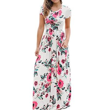 Vovotrade Women's Summer Short Sleeve Floral Printed Long Maxi Beach Long Dress (M, White)