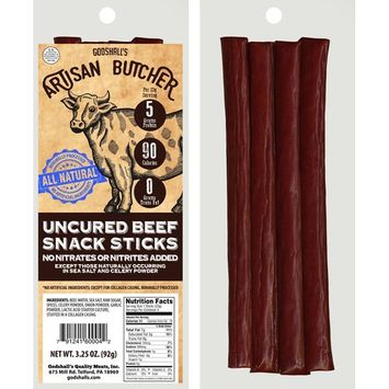 Godshall's Artisan Butcher Uncured Beef Snack Sticks - All Natural/Gluten Free (six 3.25oz packs)
