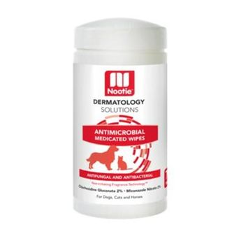 Nootie Dermatology Solutions Antimicrobial Medicated Wipes For Dogs & Cats [Options : 70-ct]