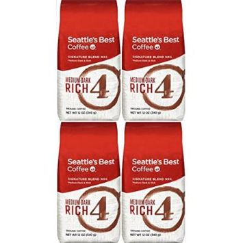 Seattle's Best Level 4 Organic Fair Trade Ground Coffee, 12-Ounce Bags (Pack of 4) (Medium-Dark Rich, 48 Oz)