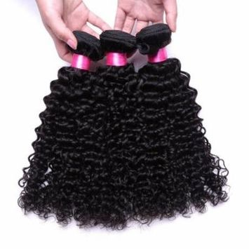 Passion Hot Sell Human Hair Extensions Wigs Brazilian Kinky Curly Wave Virgin Hair ,3pcs Curly Hair Bundles Unprocessed Human Hair Extension (12 14 16)