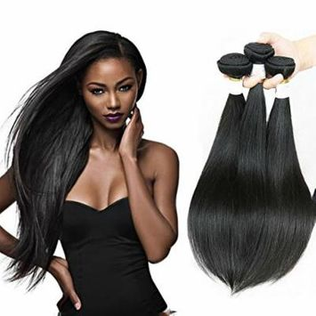 Passion Beauty Hair 3 Bundles 7A Grade Virgin Remy Indian Long Straight Hair Extensions Weave ,Natural Black Color (10 12 14)