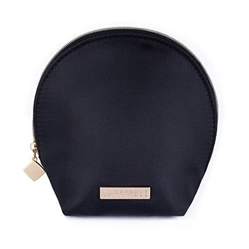 Comfyable Small Cute Makeup Bag for Purse, Makeup Carrying Case, Black Mini Cosmetic Pouch, Shell Shape