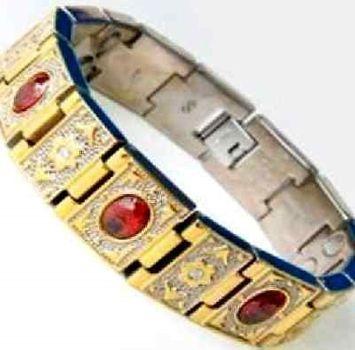 Electrified Feel Better Jewelry ELECTRIFIED FEEL BETTER EJWJ-122A Titanium Bracelet Neodymium Magnets & Garnet