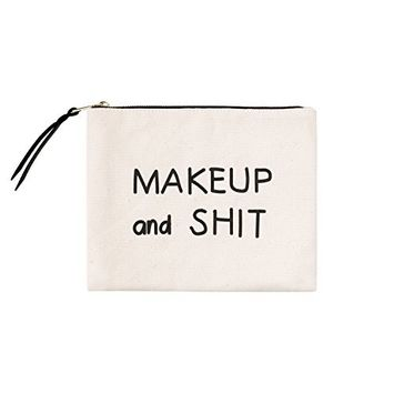 Comfyable Cotton Canvas Makeup Bag, Printed Roomy Cosmetic Pouch for Toiletries, Gadgets & Travel, Durable & Soft Clutch with Easy to Pull Zipper, Pocket for Brushes, Lipstick and Pins