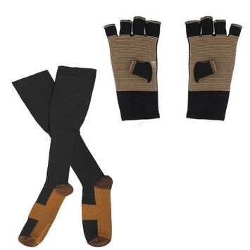 Tonewear PremiumCopper Threaded Glove And Compression Sock Set For Athletes