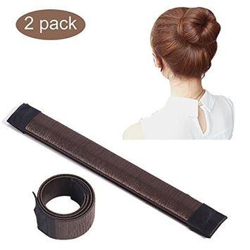 2 Pcs Ladies Fashion Hair Styling Tool Spring Fashion Hairstyle Donut Hair Bun Maker DIY Bridal Hairstyle Roll, Dark Coffee
