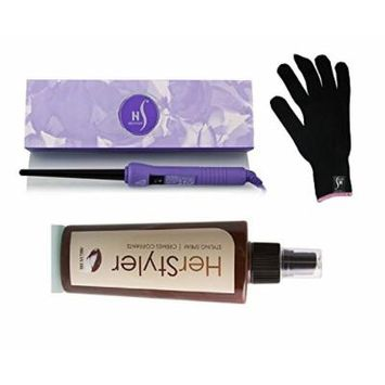 Herstyler Purple Baby Curling Iron 9-18mm with Free HerStyler Styling Spray and Heat-Protective Glove