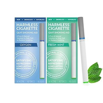 New Quit Smoking Aid Stop Smoking Remedy To Help Quit & Reduce Cravings Natural & Therapeutic Quit Smoking Solution Harmless Cigarette, Variation Set, Oxygen / Fresh Mint) (Pack of 2)