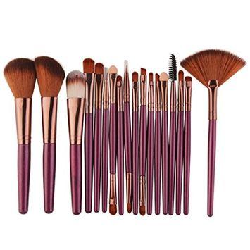 Bolayu 18 pcs Make-up Toiletry Kit Wool Makeup Brush Set Tools [Purple]
