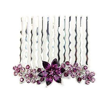 Faship Small Purple Rhinestone Crystal Floral Hair Comb