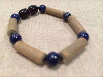 Baltic Essentials Blue Lapis Lazuli 5.5 or 6.5 Inch Hazelwood Bracelet (GERD, Colic, Eczema) Baby Infant. Lapis for stress anxiety ADHD