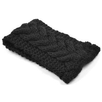 KLOUD City Women Girl Knitted Headwrap/Winter Warm Headband/Hairband/Head Wrap Hat (Black)