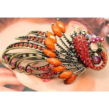 BUYINHOUSE Lovely Vintage Jewelry Crystal Peacock Hair Clips Hairpins C- for hair clip Beauty Tools (ORANGE)
