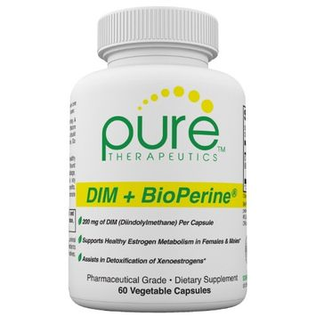 Pure Therapeutics DIM + BioPerine - 60 Vegetable Capsules (2 Month Supply) Extra Strength Formula Supports Healthy Estrogen Metabolism Estrogen Balancing for Both Men and Women Free of Magnesium Stearate Pharmaceutical Grade