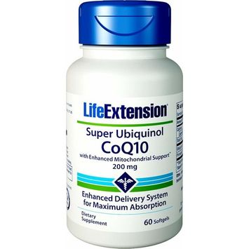 Life Extension Super Ubiquinol COQ10 with Enhanced Mitochondrial Support 200 mg Softgels, 60 Count