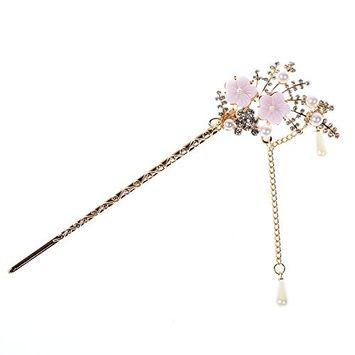 Kloud City Bridal Vintage Crystal Rhinestone Flower Hair Stick Tassels Hairpin Clip Hair Making Accessories