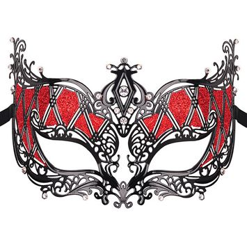 Metal Masquerade Mask, Coxeer Elegant Princess Luxury Metal Venetian Pretty Party Evening Prom Masquerade Mask