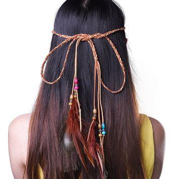 Kloud City Indian Hippie Peacock Feather Headband Boho Bradied Headpiece Tie Masquerade Headwear