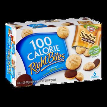 100 Calorie Right Bites Sandies Fudge Dippped Cookies - 6 CT