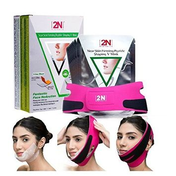 Face Firming Mask,7pcs Face Slimming Cheek Mask, Chin Lift up Anti Wrinkle Mask with Bandag Belt Help you Tightening Face Skin and Adding V Face Line
